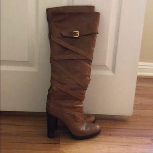 Michael Kors tan leather heeled boots